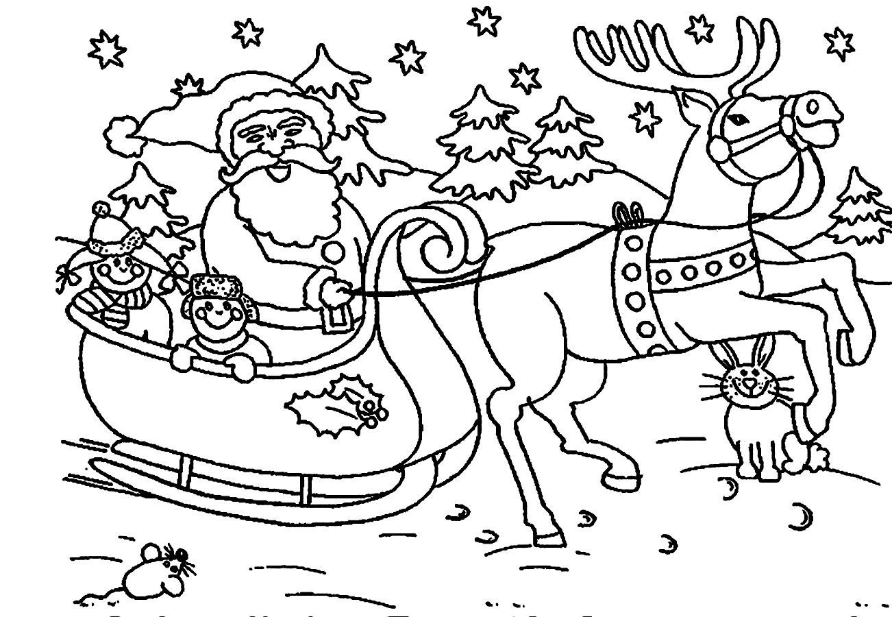 Xmas Coloring Pages With Santa Reindeer