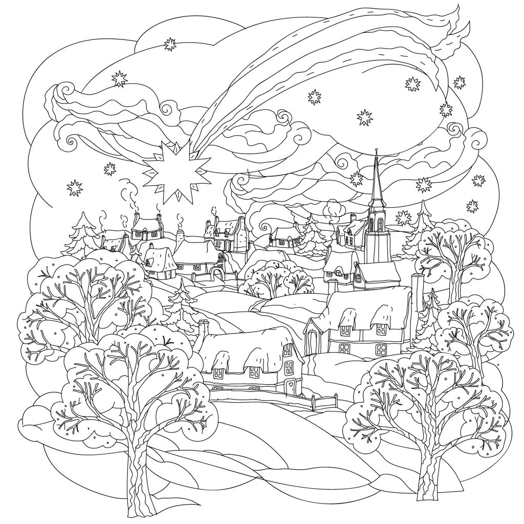 Xmas Coloring Pics With Christmas Star Flies Over Winter Village A Beautiful And Simple