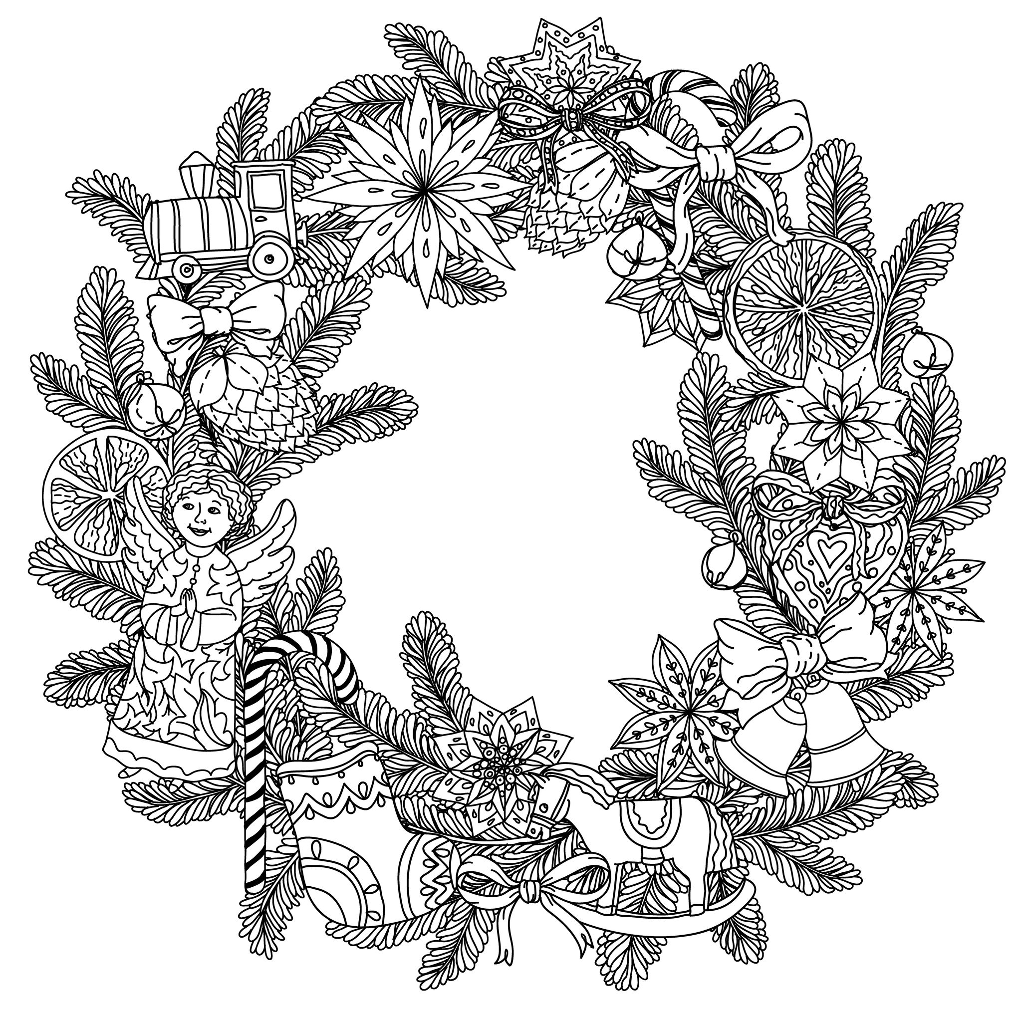 Xmas Wreaths Coloring Pages With Christmas Adult To Print Free Books