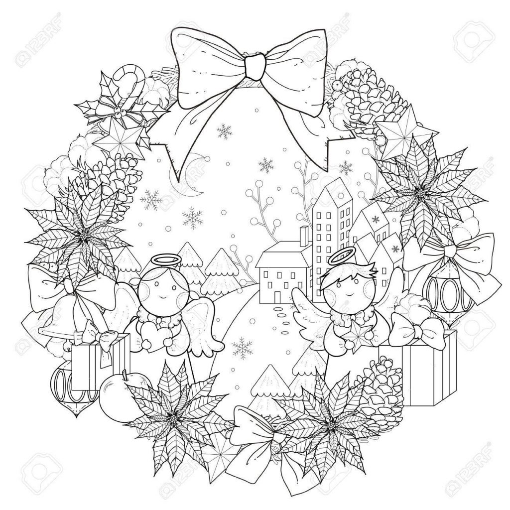 Xmas Wreaths Coloring Pages With Christmas Wreath Page Decorations In Exquisite