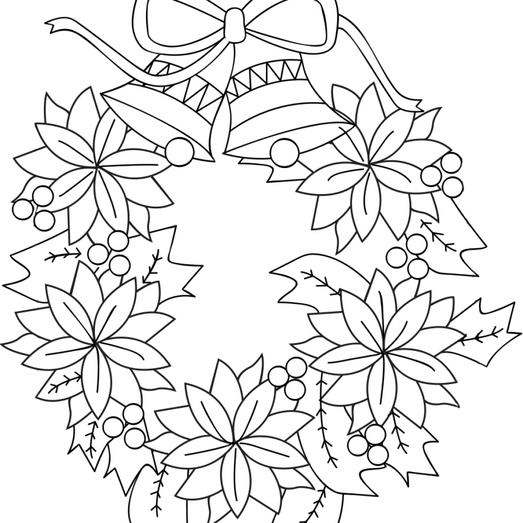 Xmas Wreaths Coloring Pages With Christmas Wreath Page Free Printable