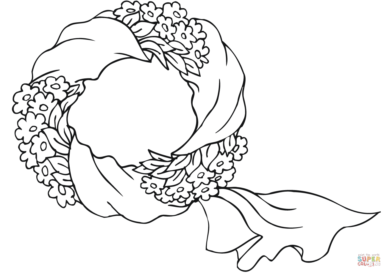 Xmas Wreaths Coloring Pages With Wreath Page Free Printable