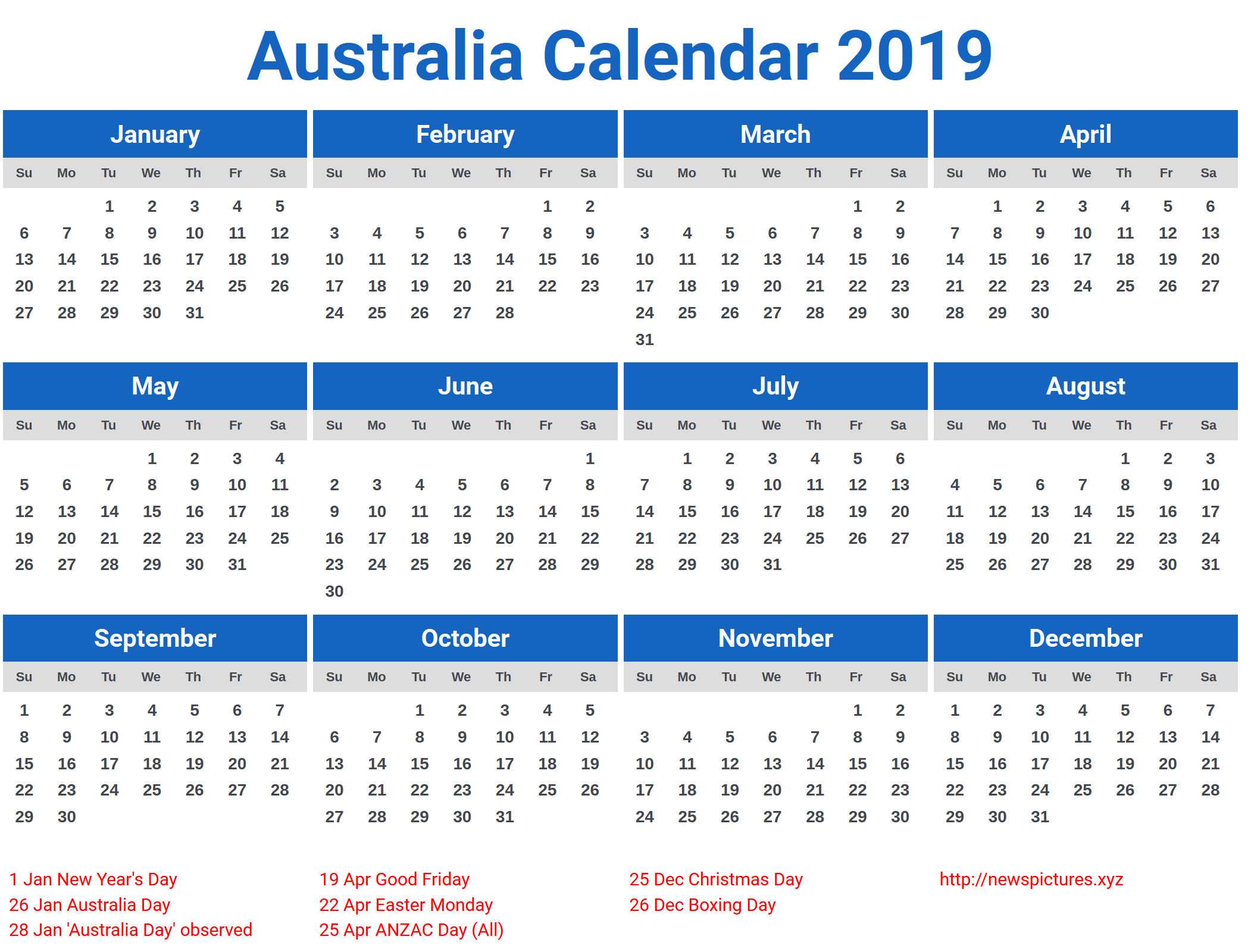 Year 2019 Calendar Australia With 2018 Printable Holidays