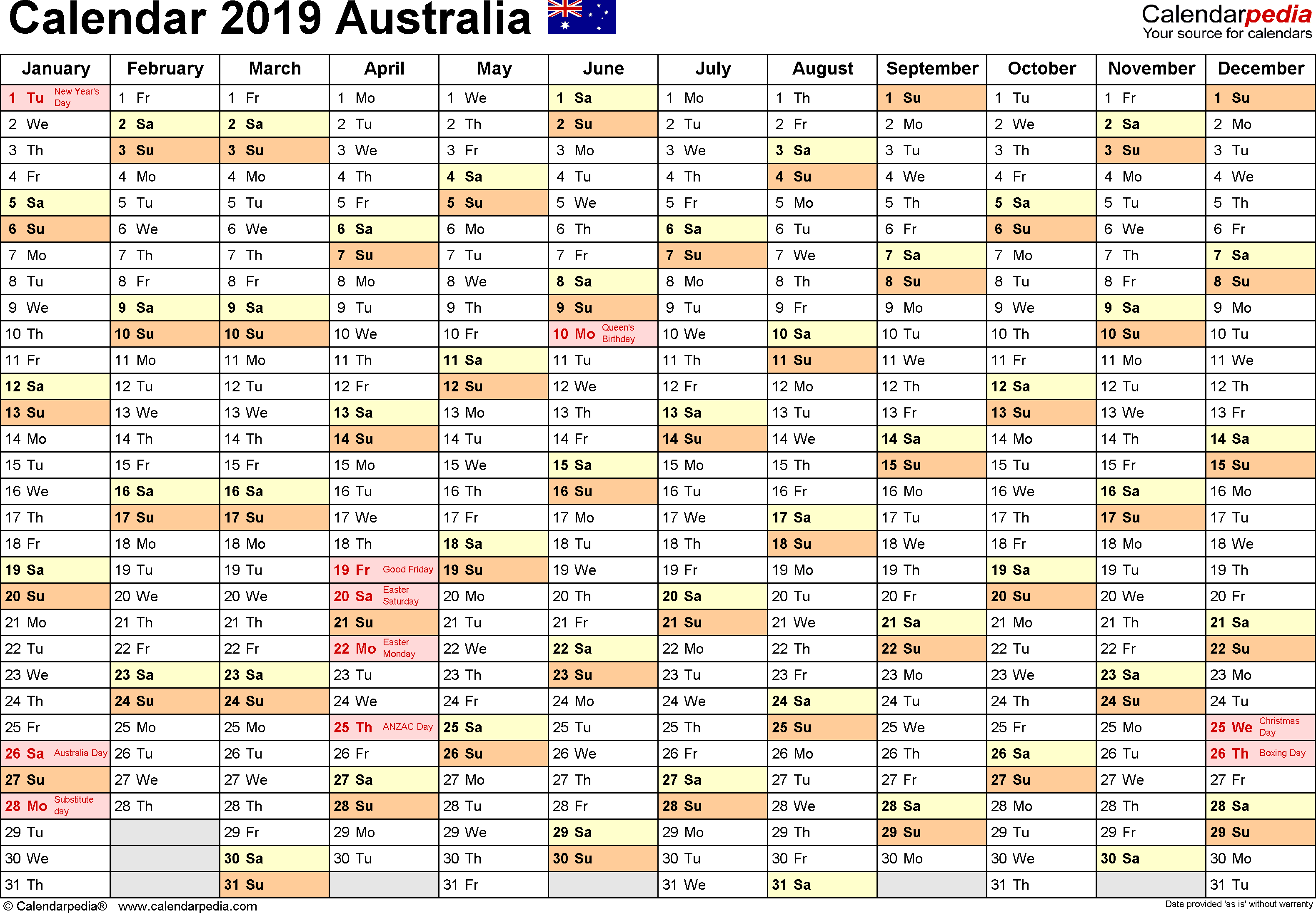 Year 2019 Calendar Australia With Free Printable PDF Templates