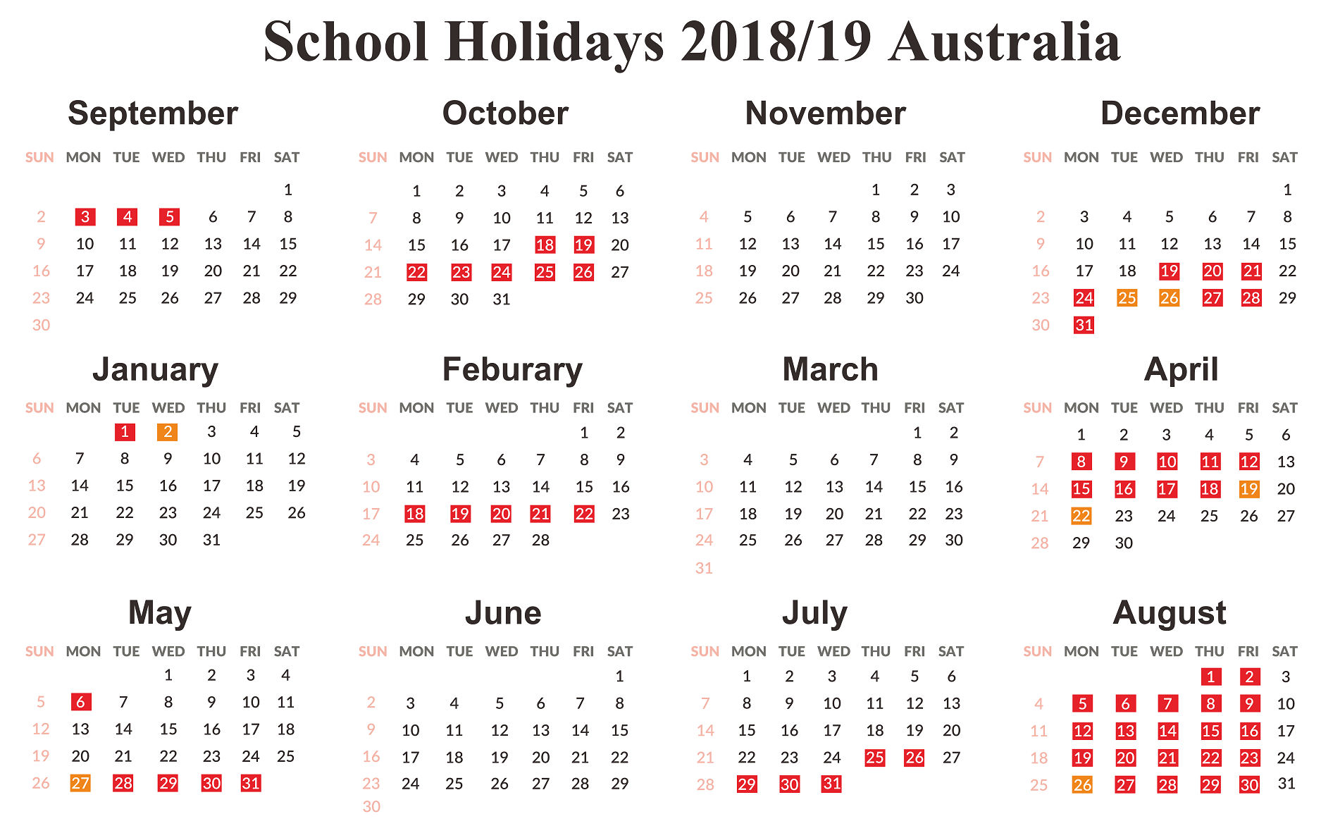 Year 2019 Calendar Australia With Free School Holidays Templates December