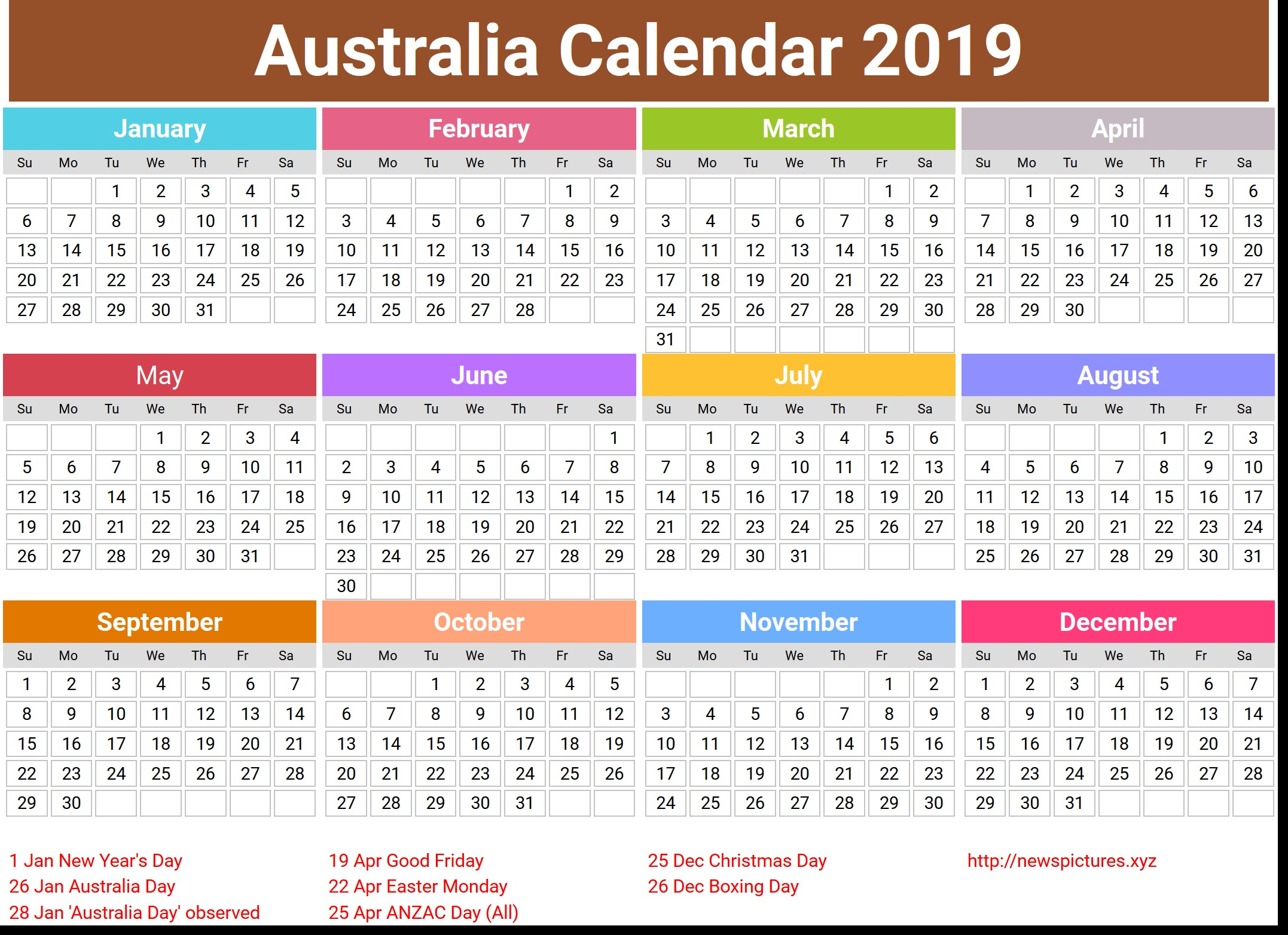 Year 2019 Calendar Australia With Printable Coloring Page For Kids