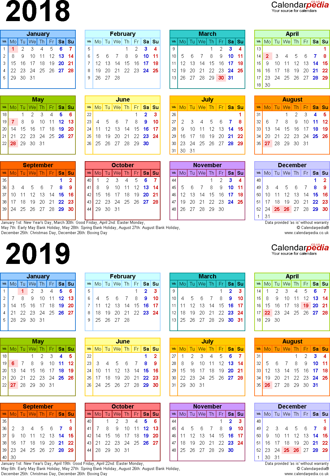 Year 2019 Calendar Australia With Two Calendars For 2018 UK PDF