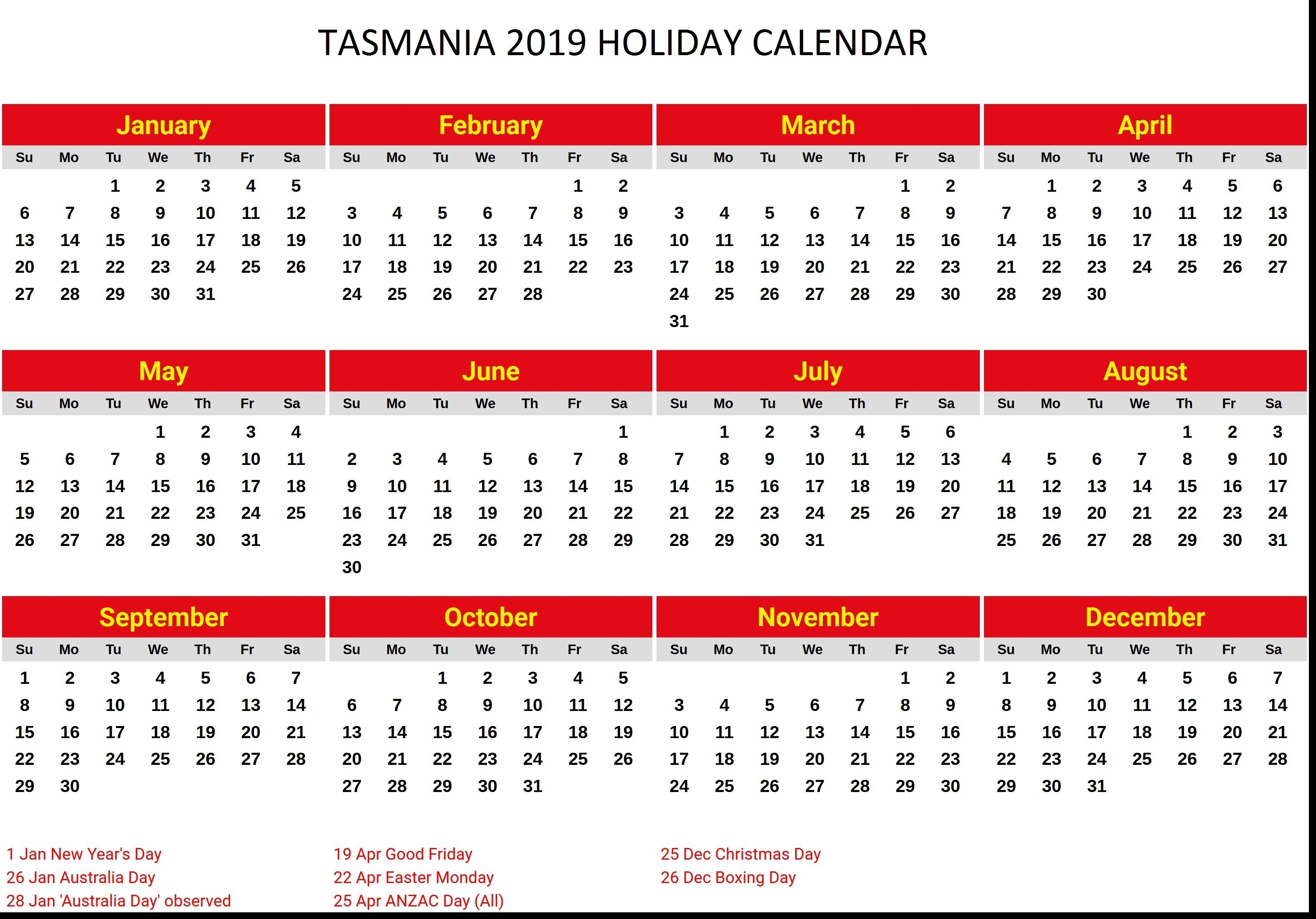 Year 2019 Calendar Australia With Yearly Printable School Holidays Tasmanian PDF May