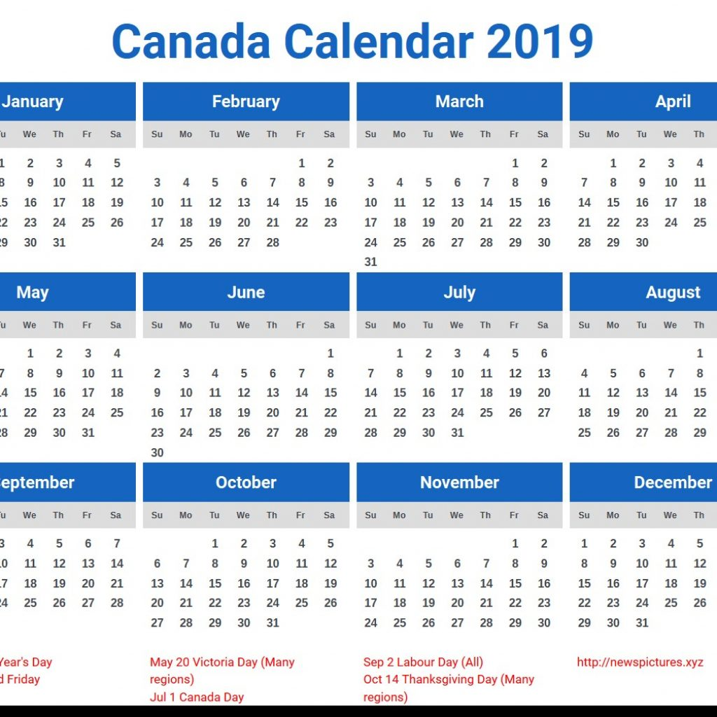 Year 2019 Calendar Canada With Printable Free