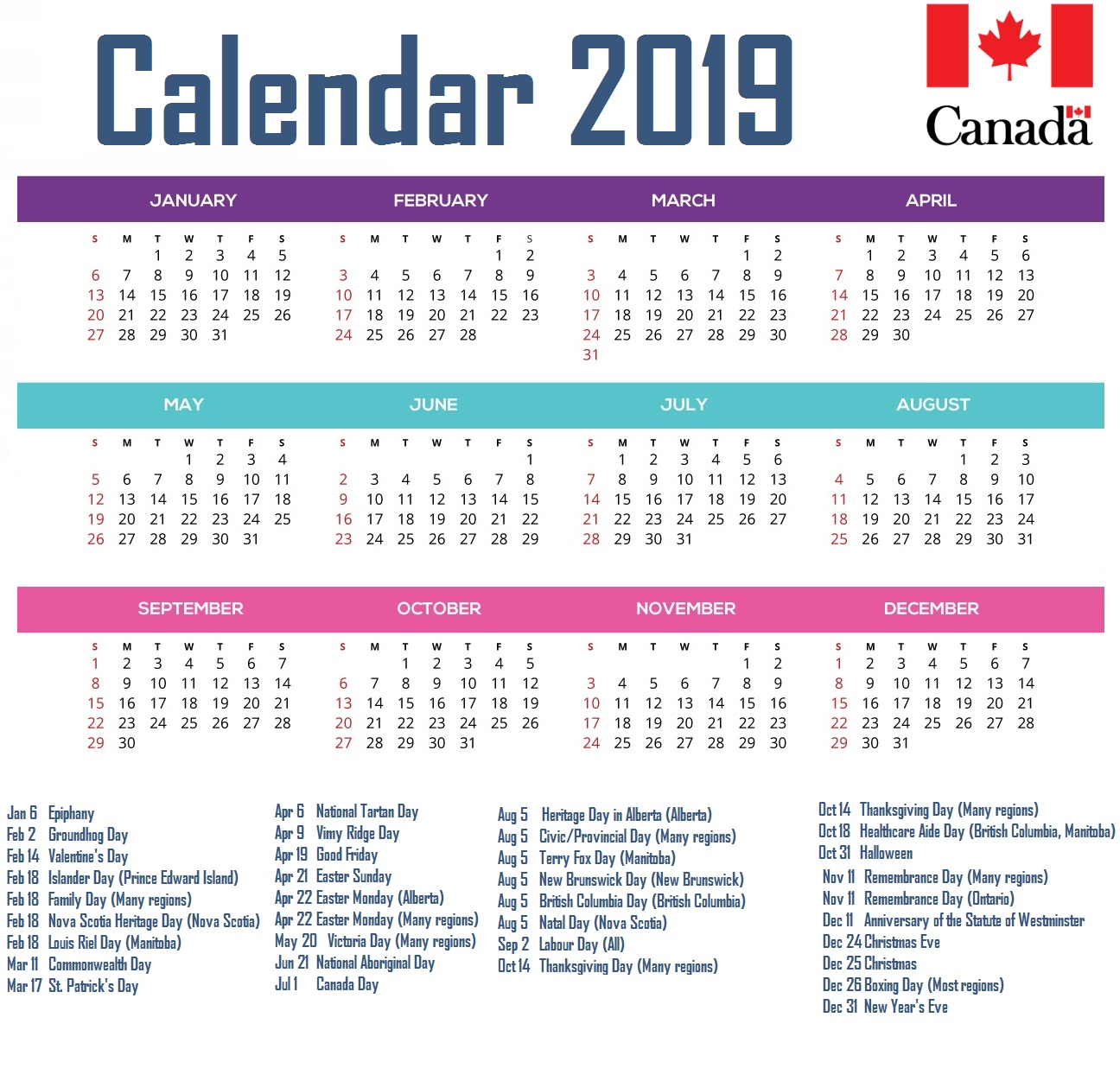 Year 2019 Calendar Canada With Printable Yearly Blank Holidays Word