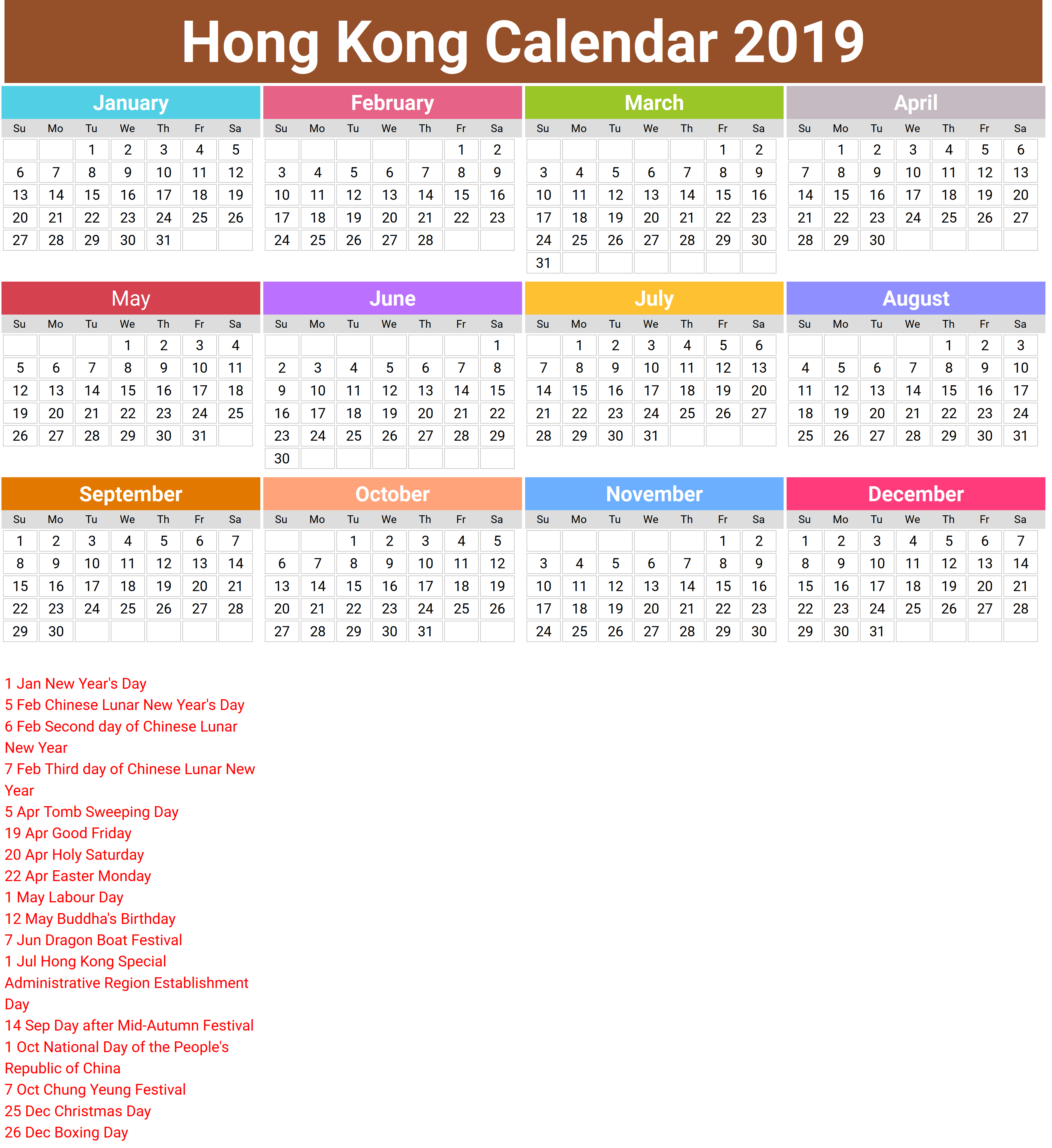 Year 2019 Calendar Hk With Chinese Lunar New Mus E Des Impressionnismes