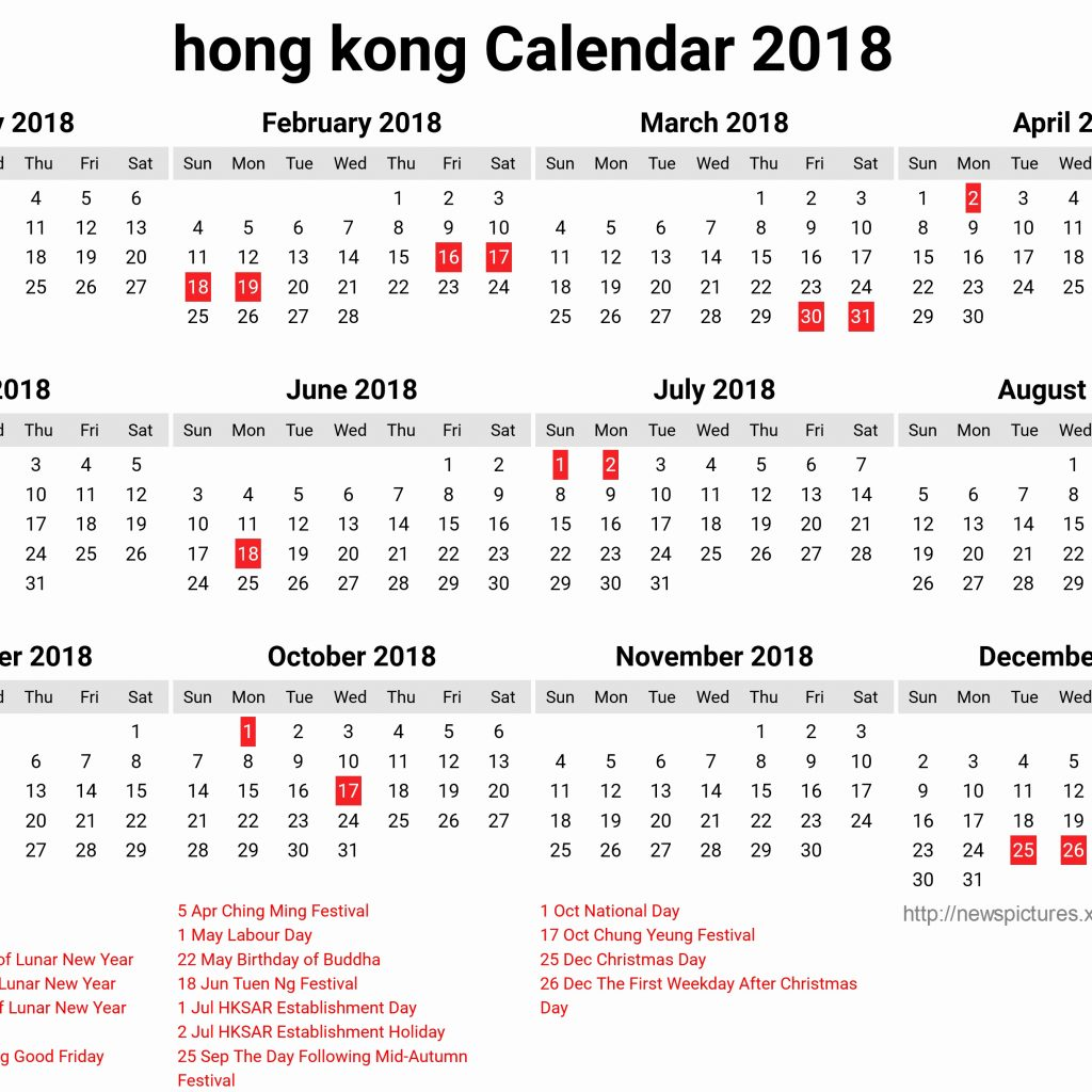 Year 2019 Calendar Hk With Hong Kong 2018 For