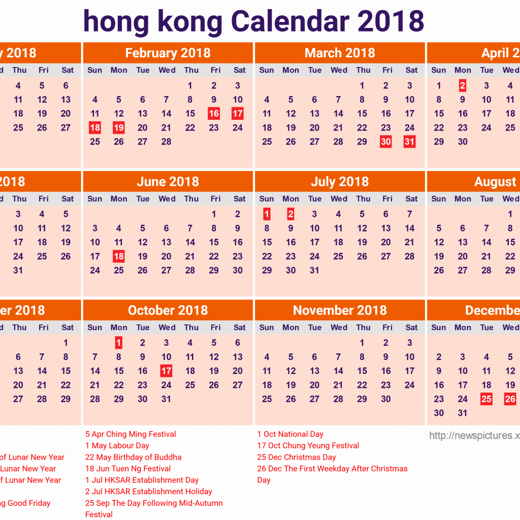 Year 2019 Calendar Hk With Hong Kong 2018 For In