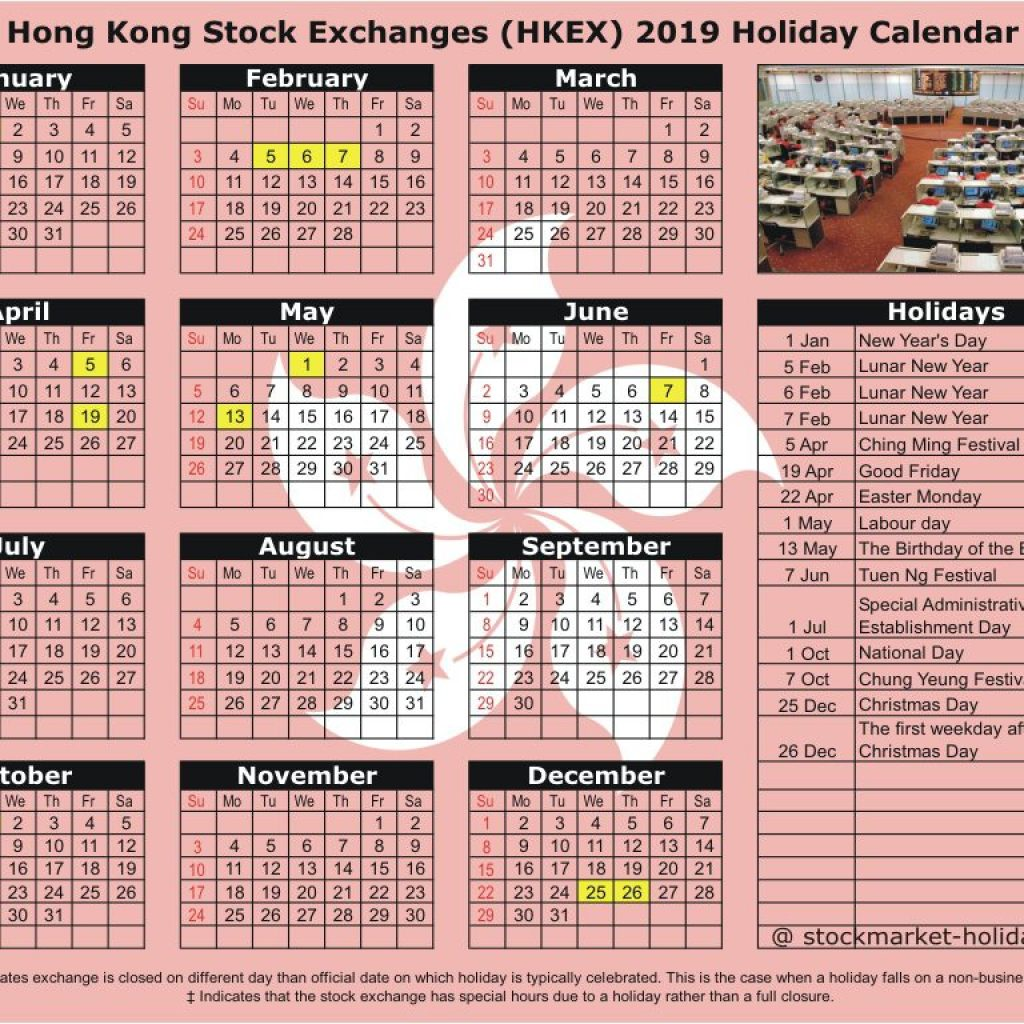 Year 2019 Calendar Hk With Hong Kong Stock Exchange 2018 Holidays HKEX
