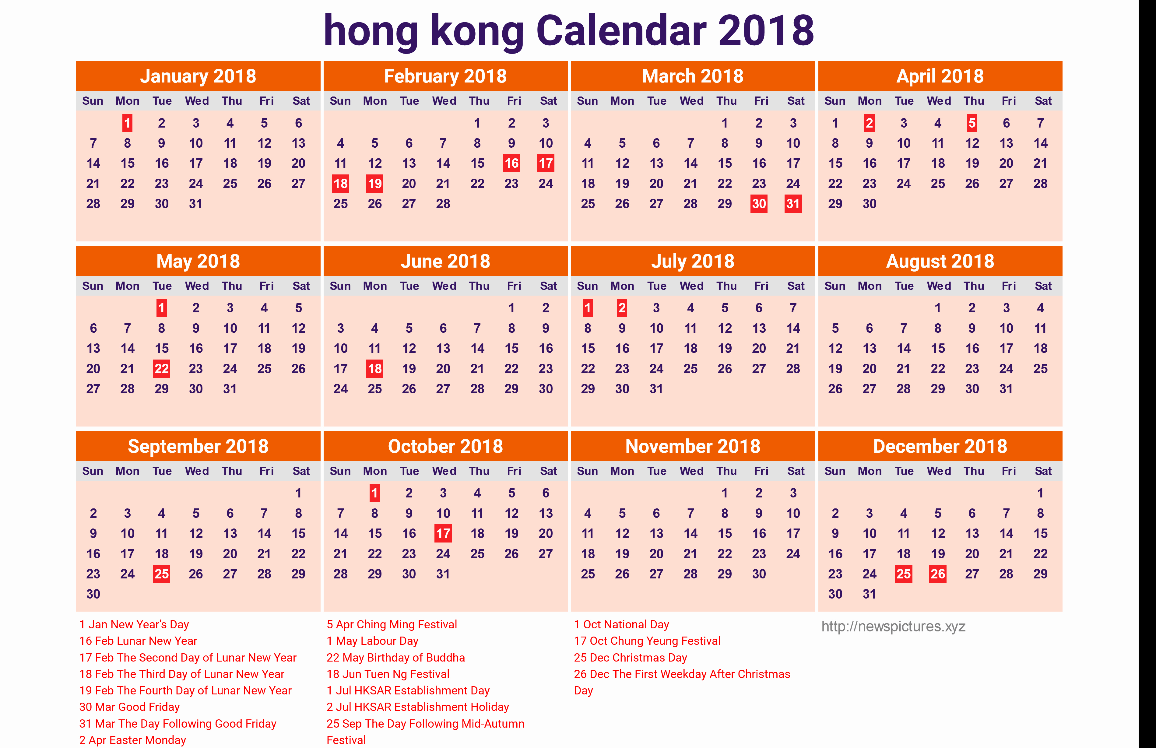 Year 2019 Calendar Hong Kong With 2018 For In