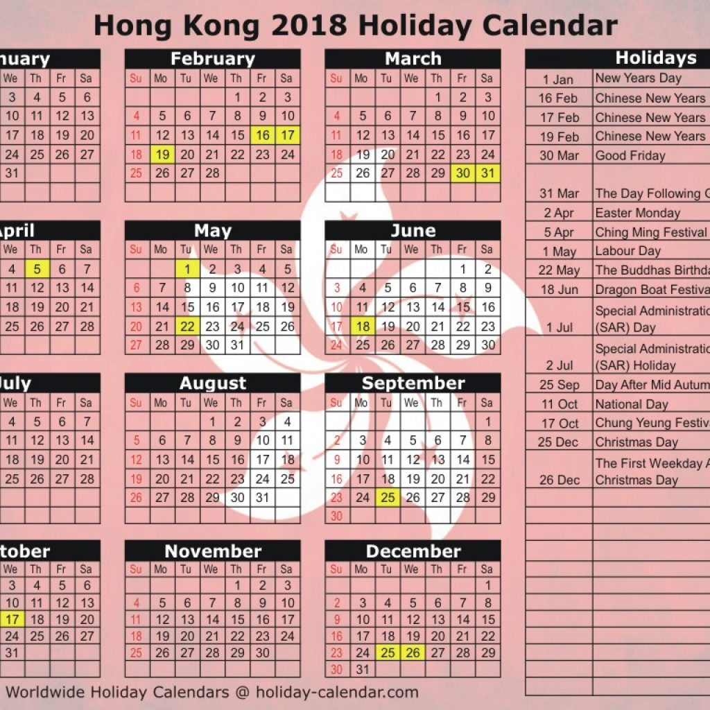 Year 2019 Calendar Hong Kong With 2018 Holiday