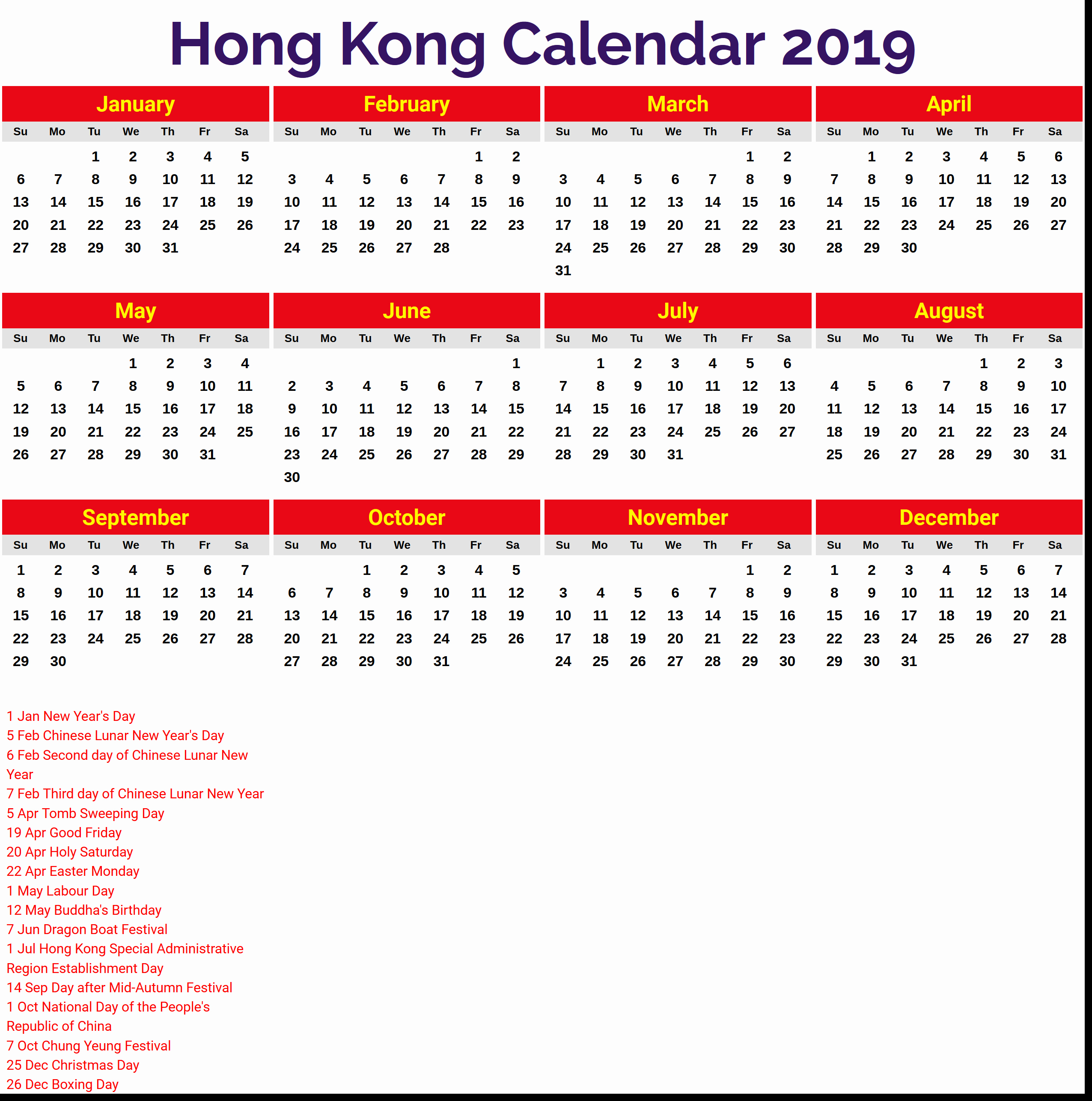 Year 2019 Calendar Hong Kong With 2018 Holidays