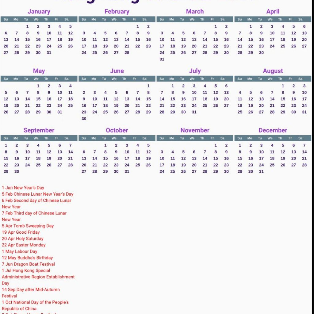 Year 2019 Calendar Hong Kong With 50 Chinese New Template Design