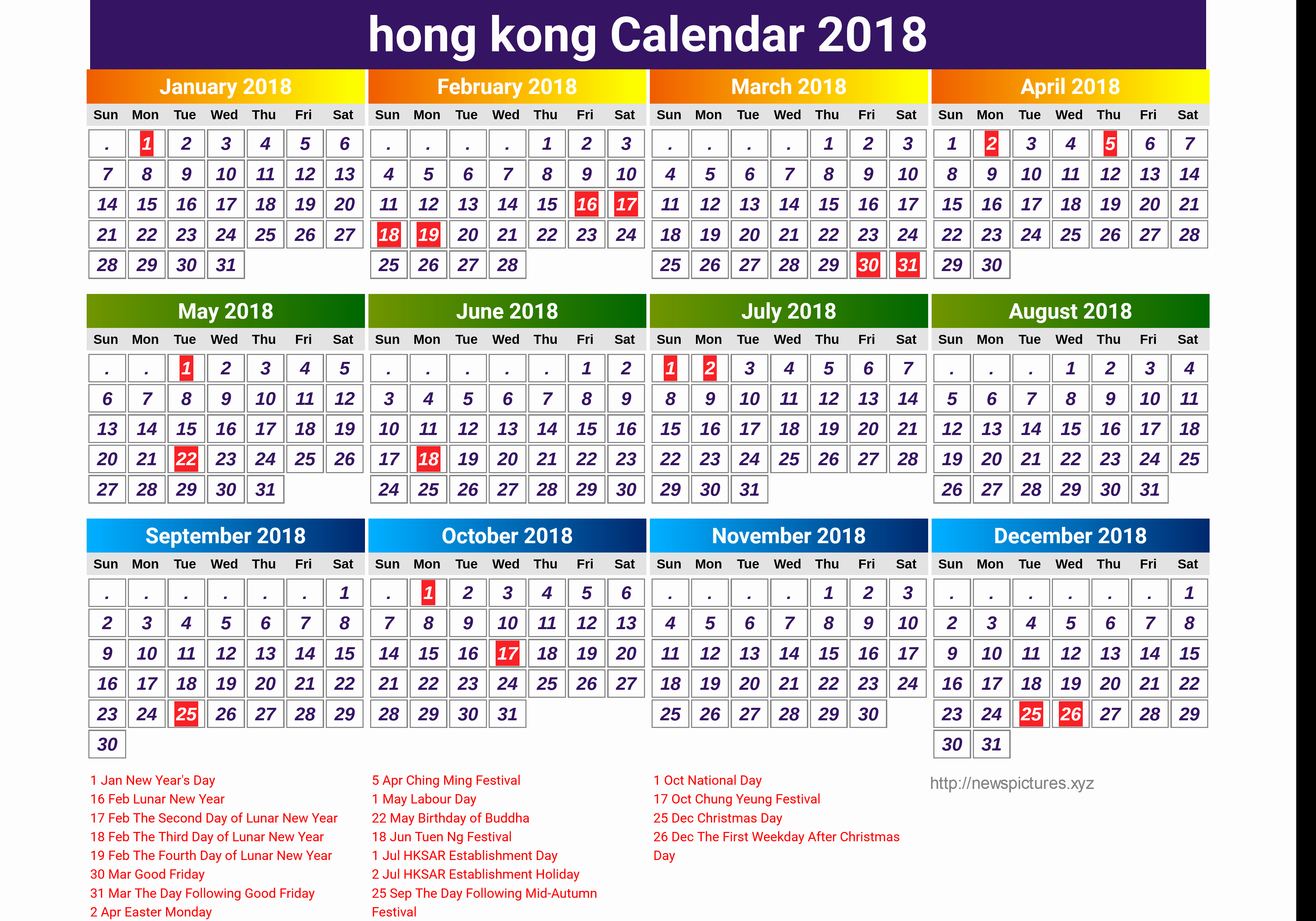 Year 2019 Calendar Hong Kong With For