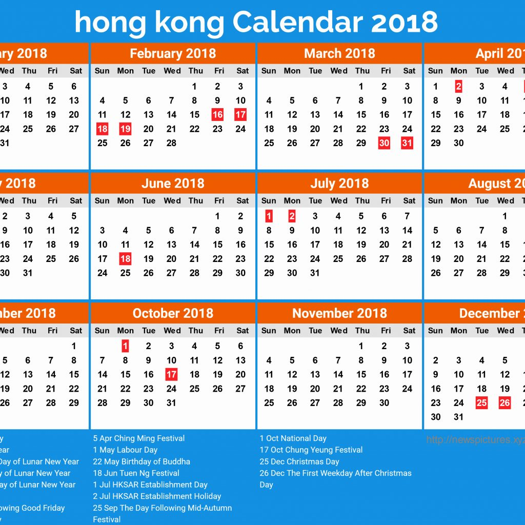 Year 2019 Calendar Hong Kong With Holidays