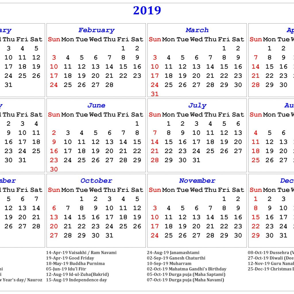 Year 2019 Calendar India With Free Printable Indian Holidays April 2018
