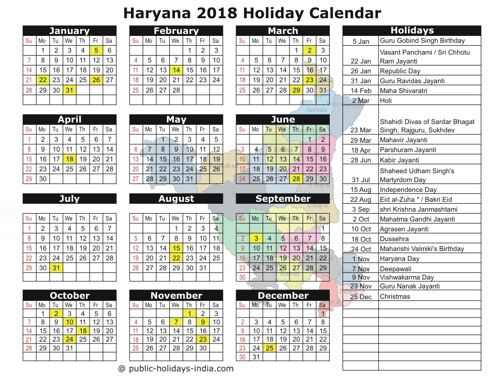 Year 2019 Calendar India With Haryana Public Holiday 2018