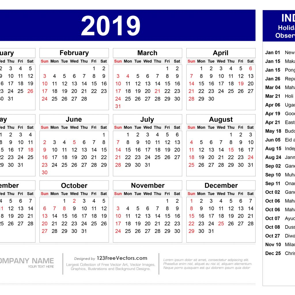 Year 2019 Calendar India With Indian Holidays Pdf 123Freevectors