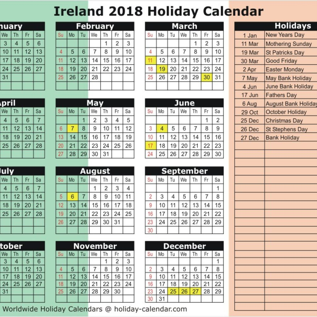 Year 2019 Calendar Ireland With 2018 Holiday