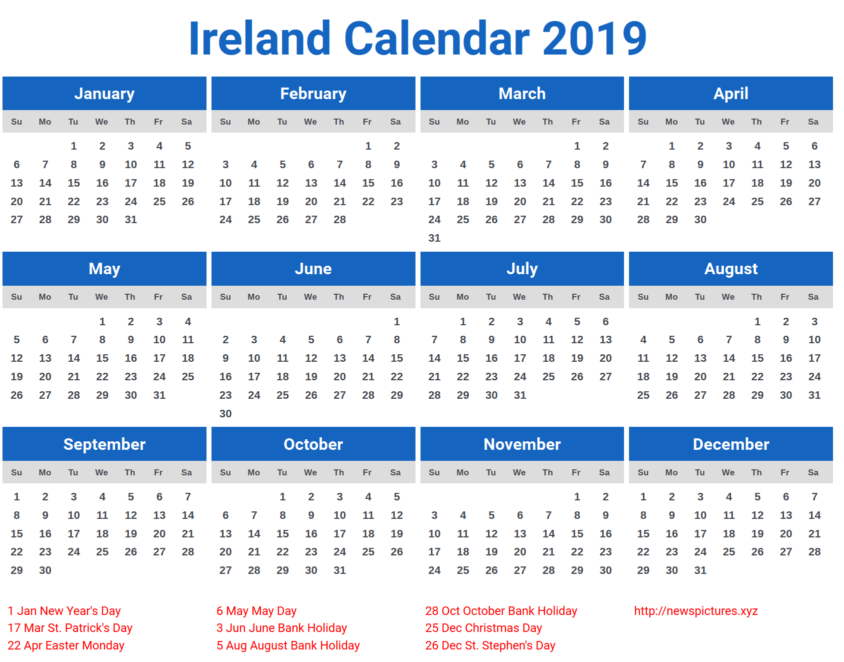 Year 2019 Calendar Ireland With FREE DOWNLOAD