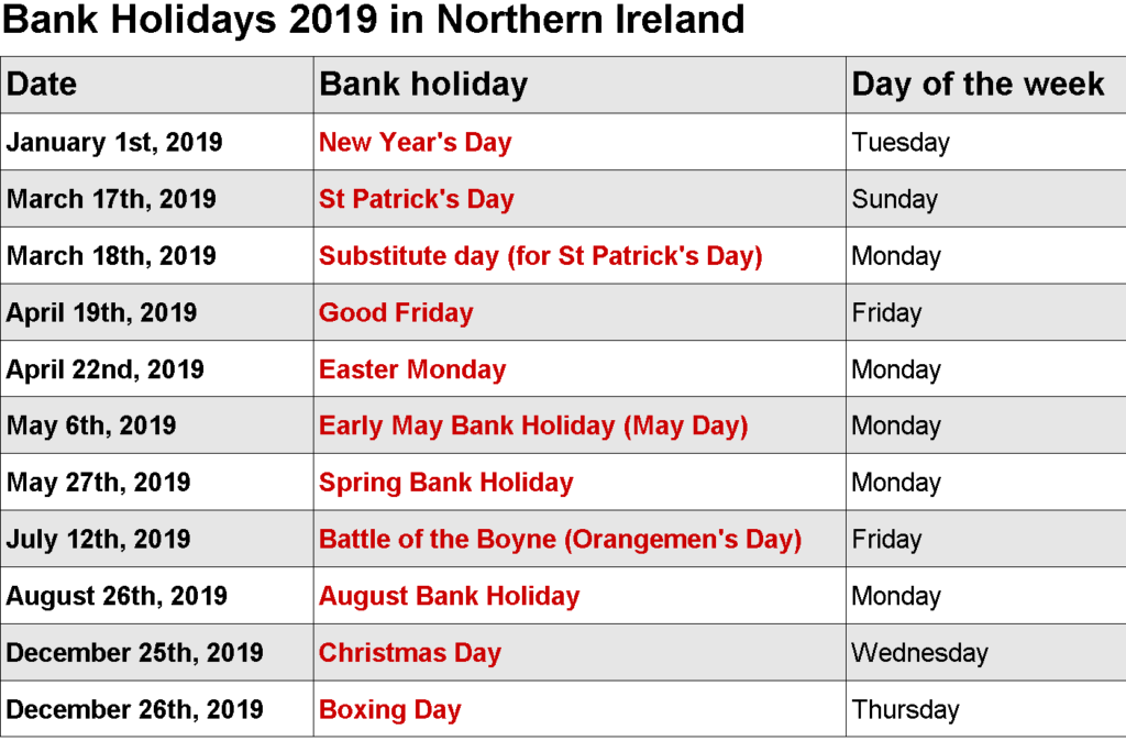 Year 2019 Calendar Ireland With Holidays Pinterest