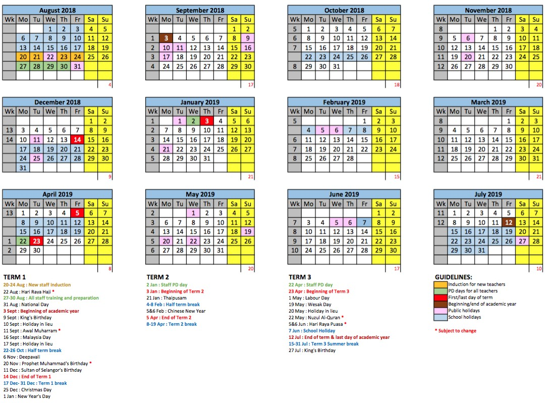 Year 2019 Calendar Malaysia With Academic GEMS International School Metropark