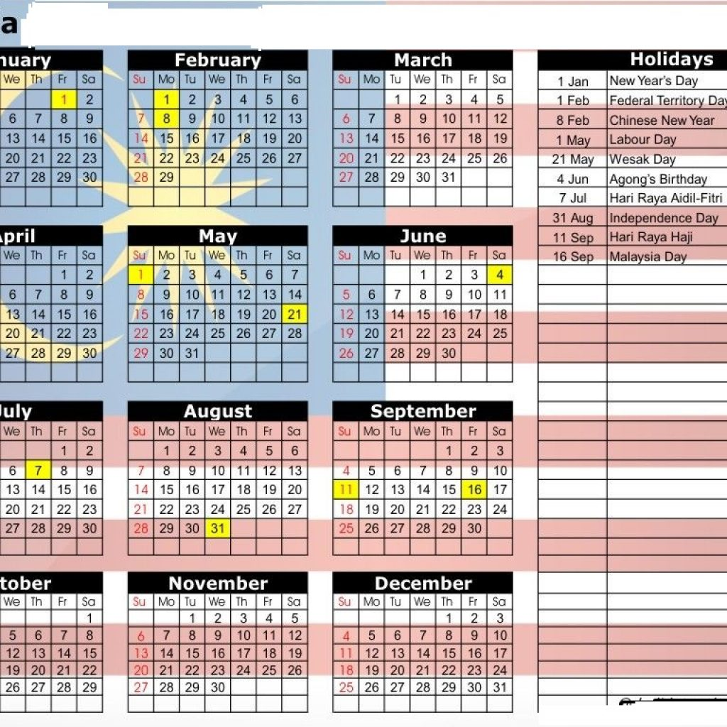 Year 2019 Calendar Malaysia With Printable Yearly Holidays October 2018
