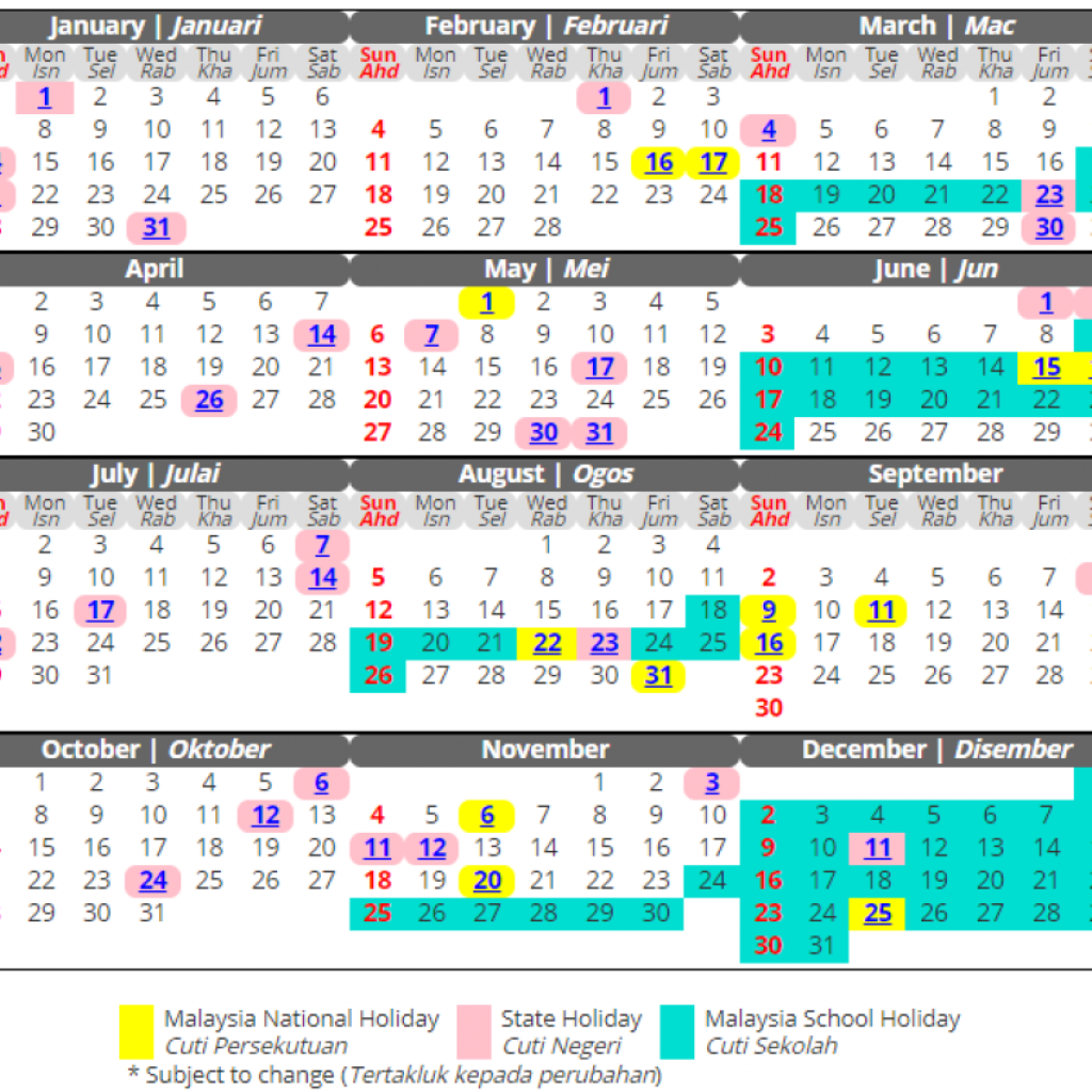 Year 2019 Calendar Malaysia With When To Take Leave In 2018 Plan Your 4 5 Days Straight Holidays