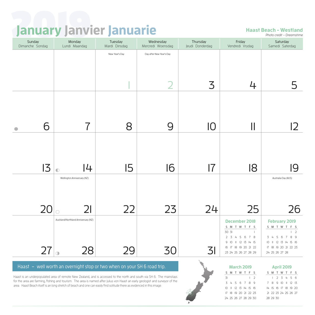 Year 2019 Calendar New Zealand With Holiday And Travel