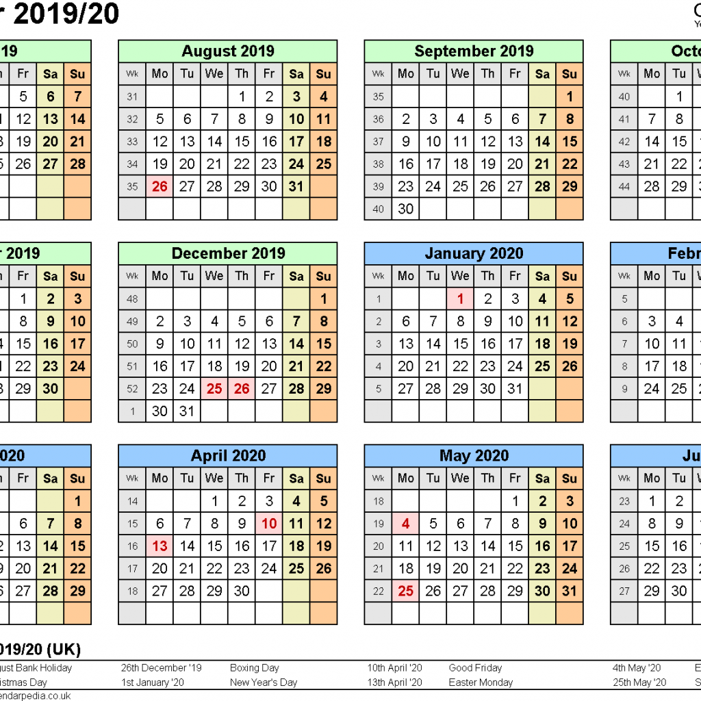 Year 2019 Calendar New Zealand With Split Calendars 20 July To June For PDF UK Version