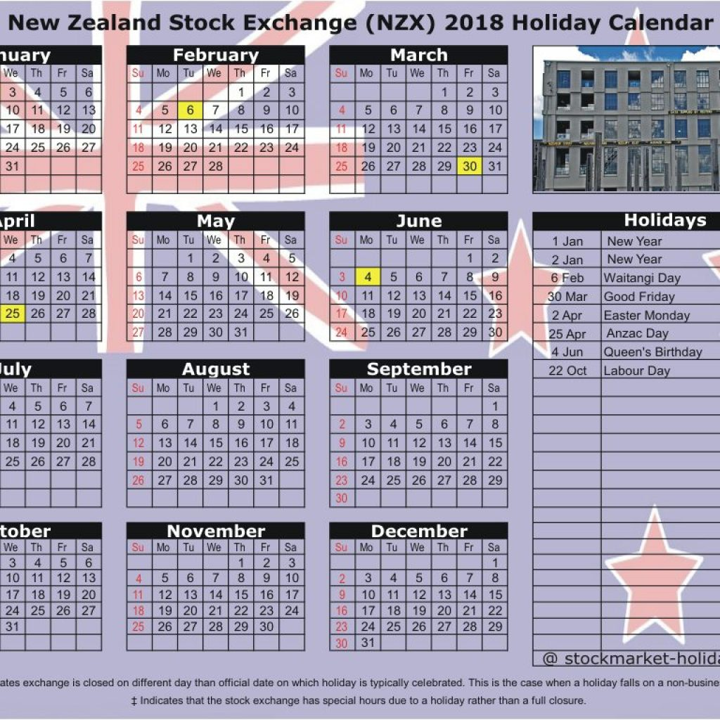 Year 2019 Calendar New Zealand With Stock Exchange 2018 Holidays NZX