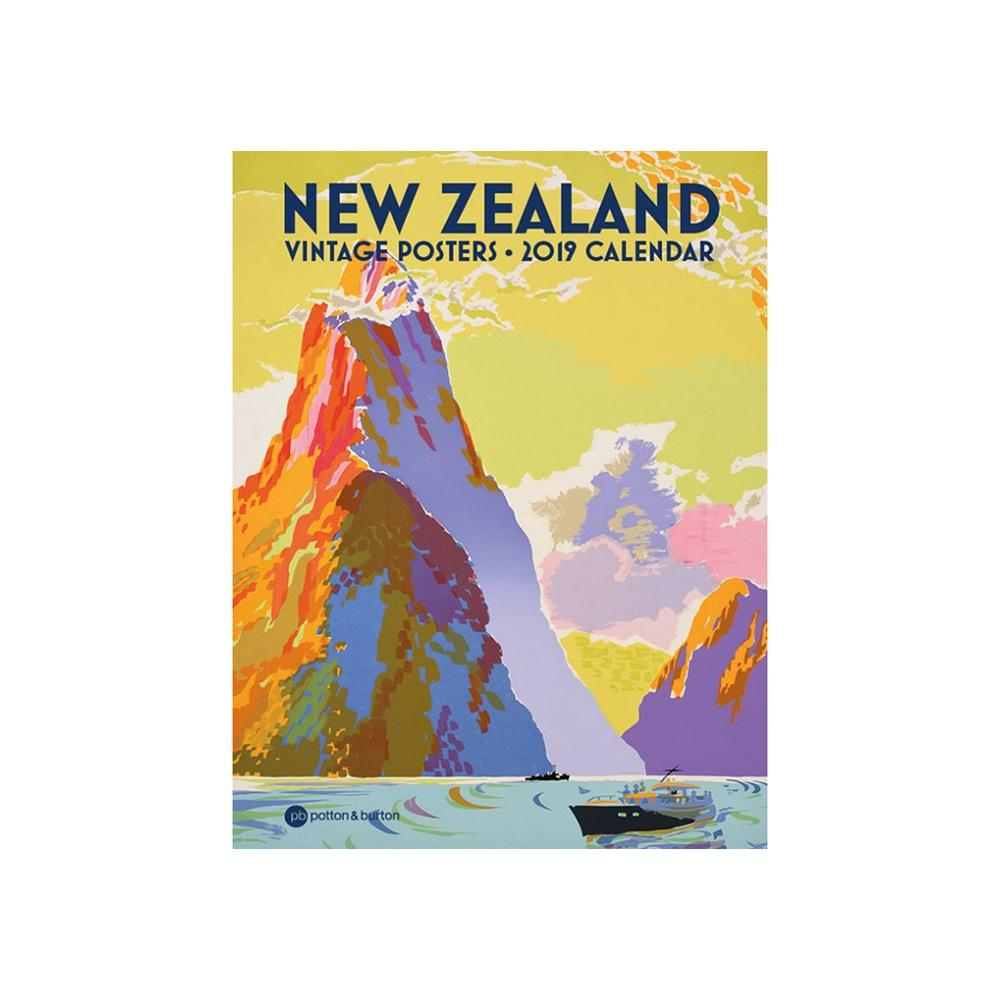 Year 2019 Calendar New Zealand With Wall Vintage Poster Small Iko