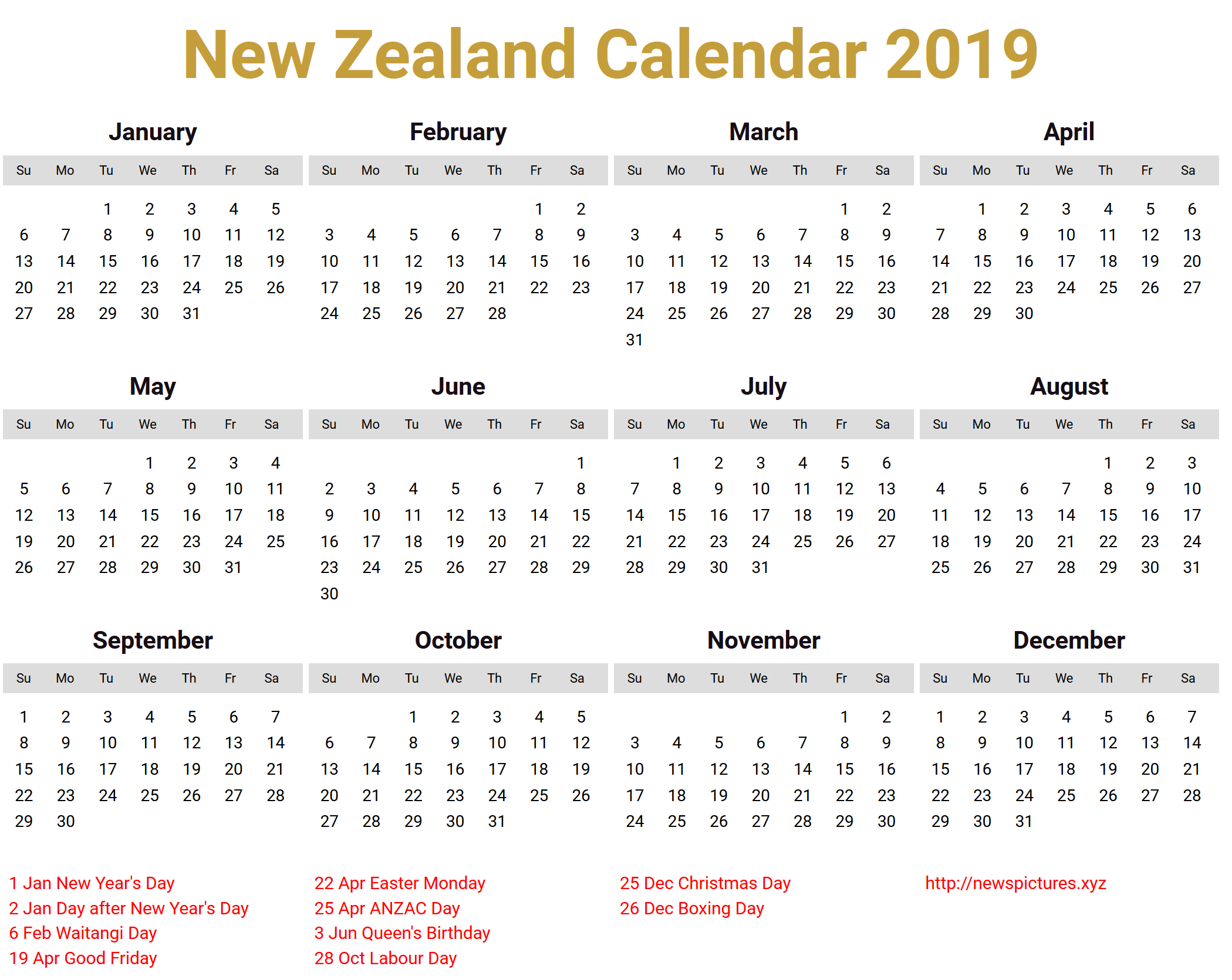 Year 2019 Calendar Nz With Holiday For Vacation Planning Free Template