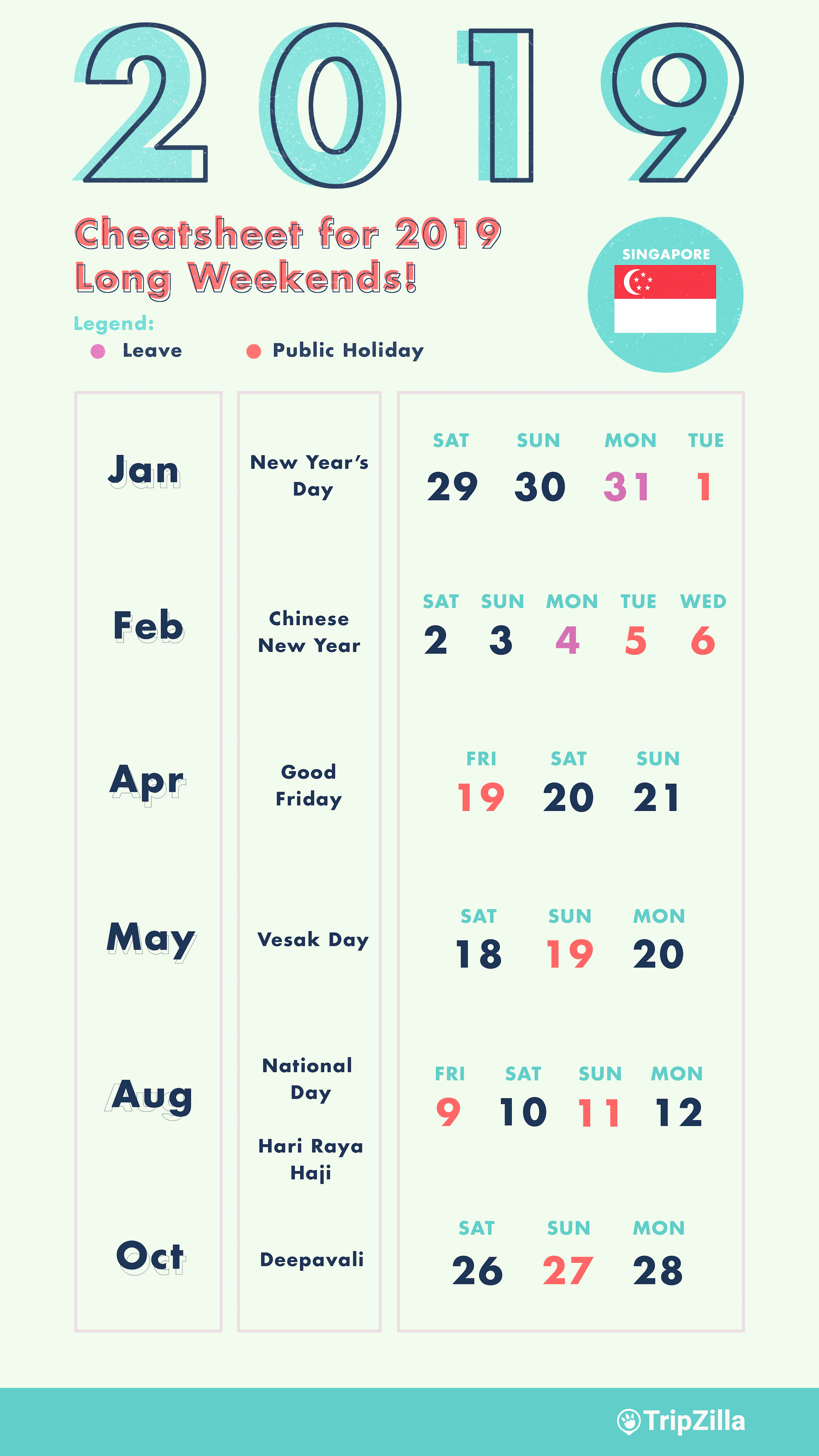 Year 2019 Calendar Philippines With Holidays 6 Long Weekends In Singapore Bonus Cheatsheet