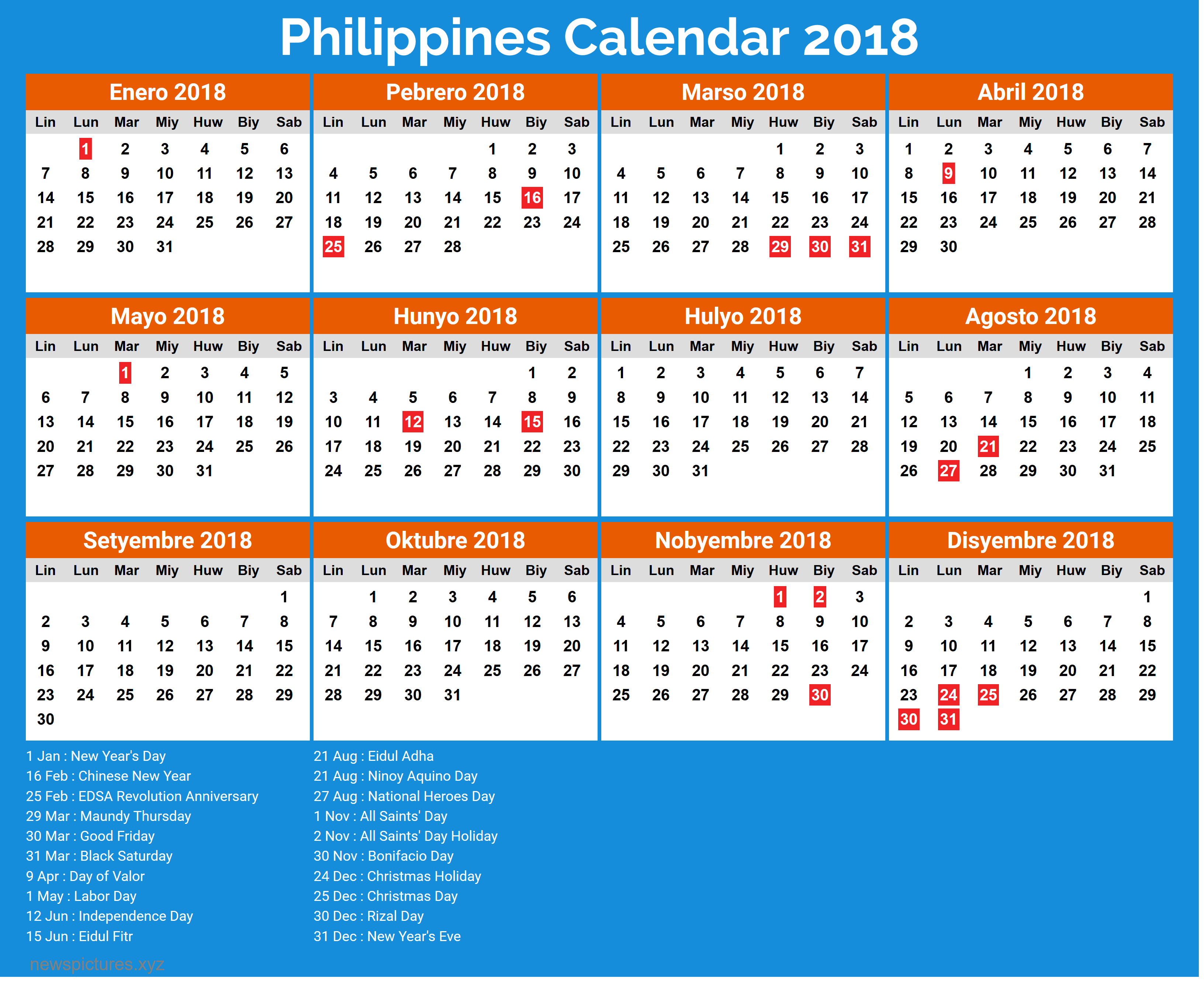 Year 2019 Calendar Philippines With Holidays For 2018 Printable