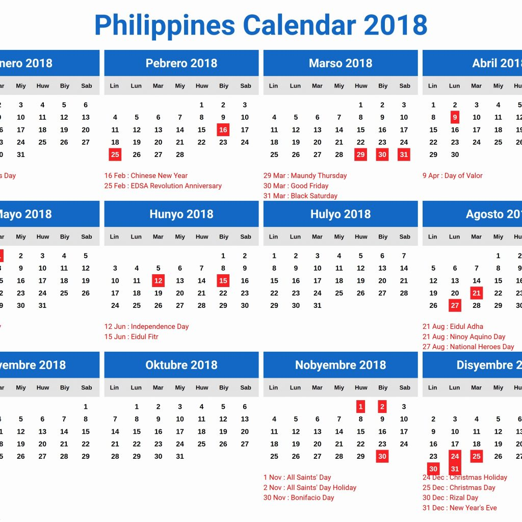 Year 2019 Calendar Philippines With Holidays March Format Example
