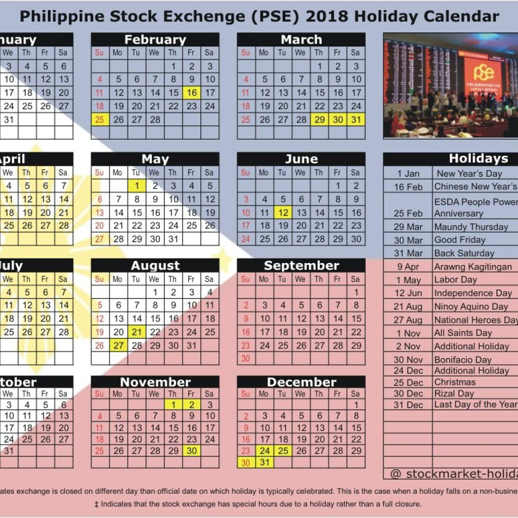 Year 2019 Calendar Philippines With Holidays Philippine Stock Exchange 2018 PSE