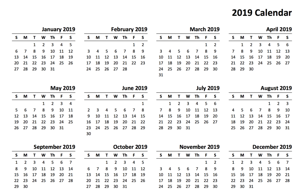 Year 2019 Calendar Printable With Templates Online