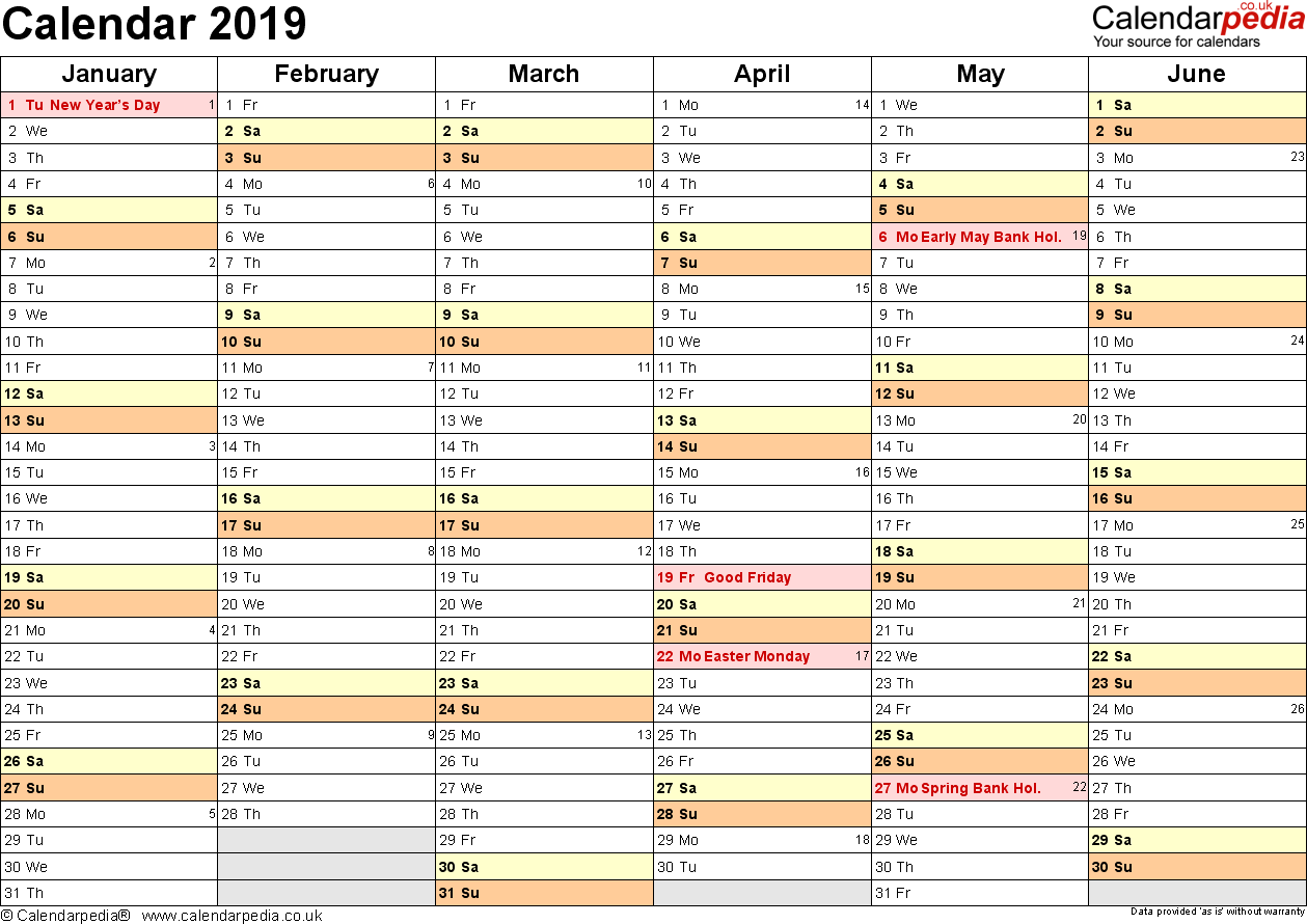 Year 2019 Calendar Printable With UK 16 Free PDF Templates