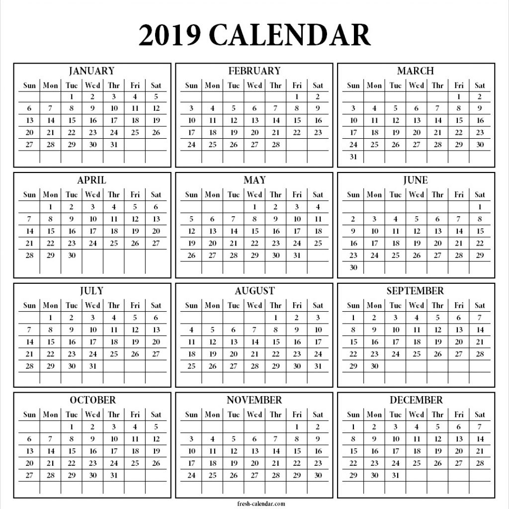 Year 2019 Calendar Printable With Yearly Template One Page Print Out