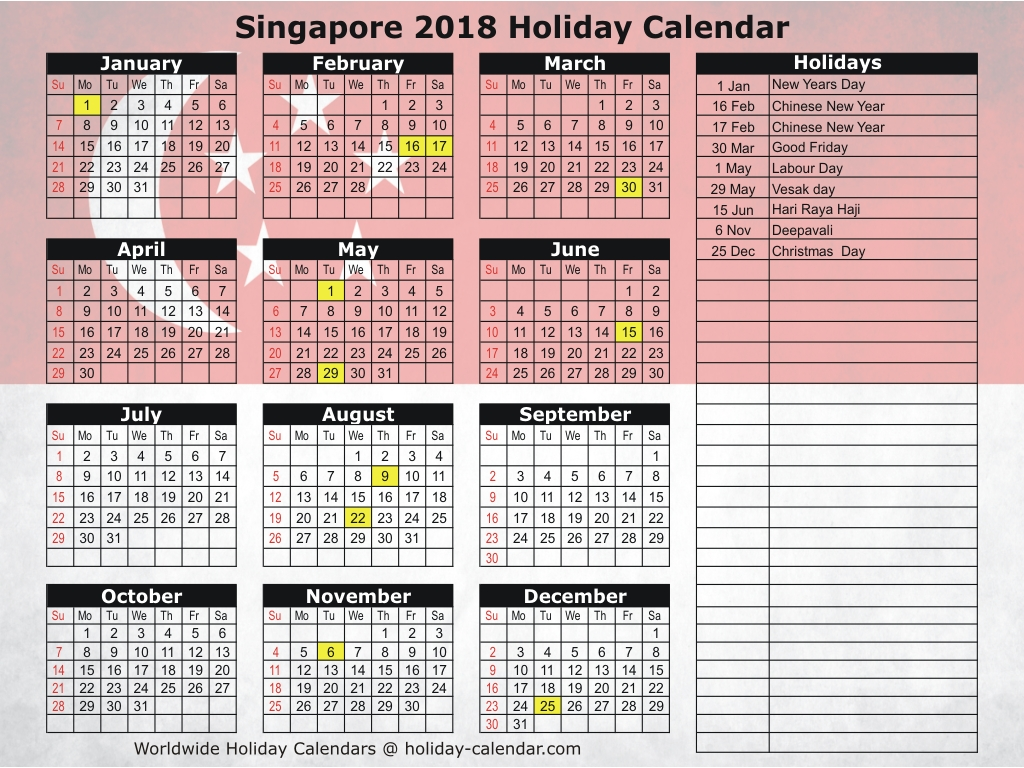 Year 2019 Calendar Singapore With 2018 Holiday