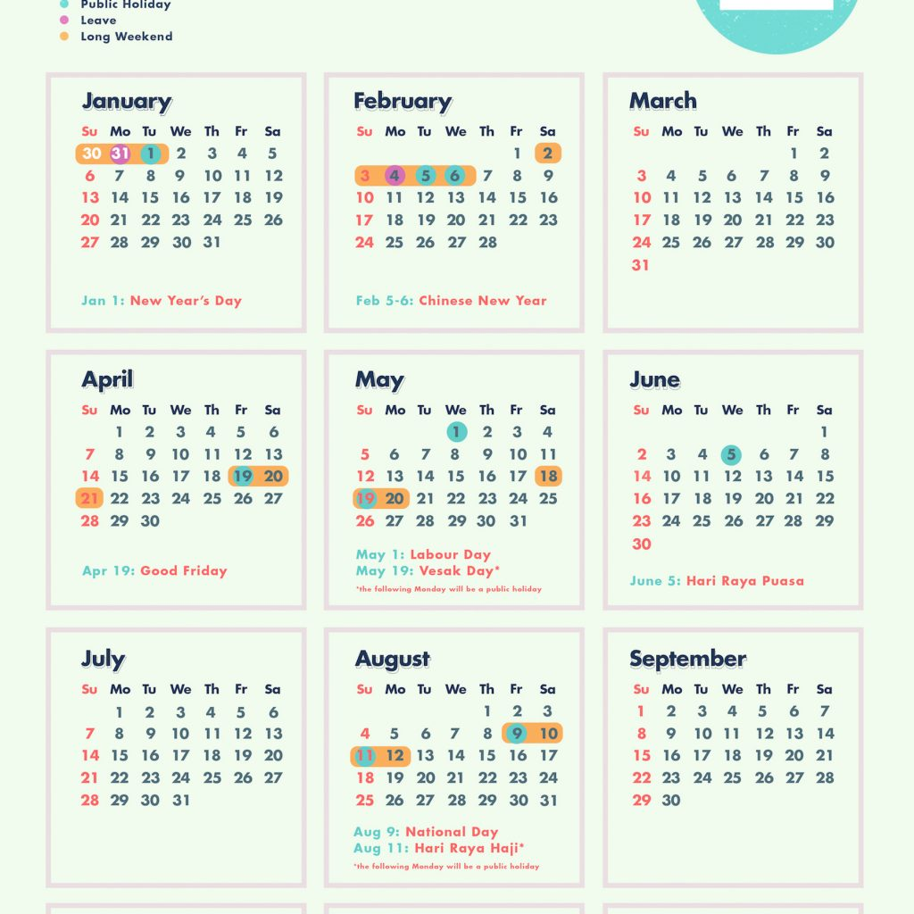 Year 2019 Calendar Singapore With 6 Long Weekends In Bonus Cheatsheet
