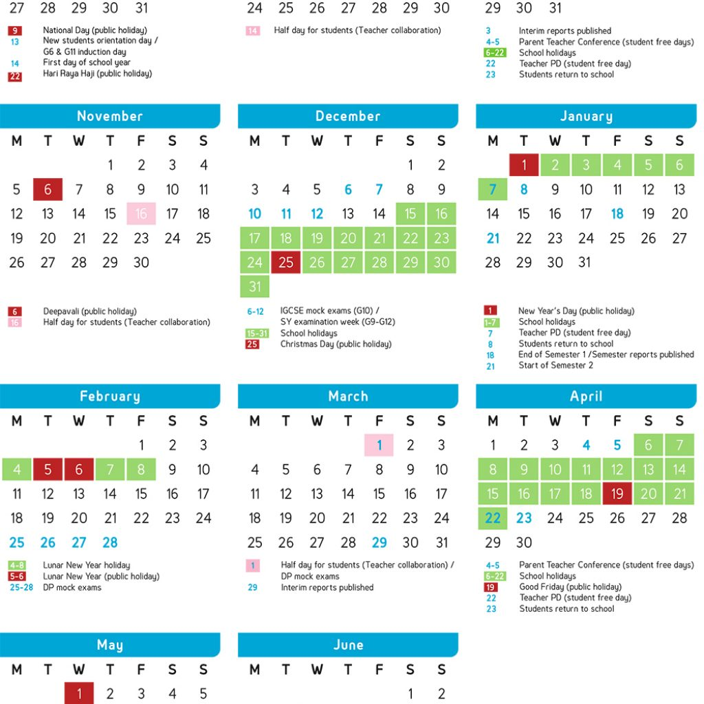 Year 2019 Calendar Singapore With Academic GEMS World Academy