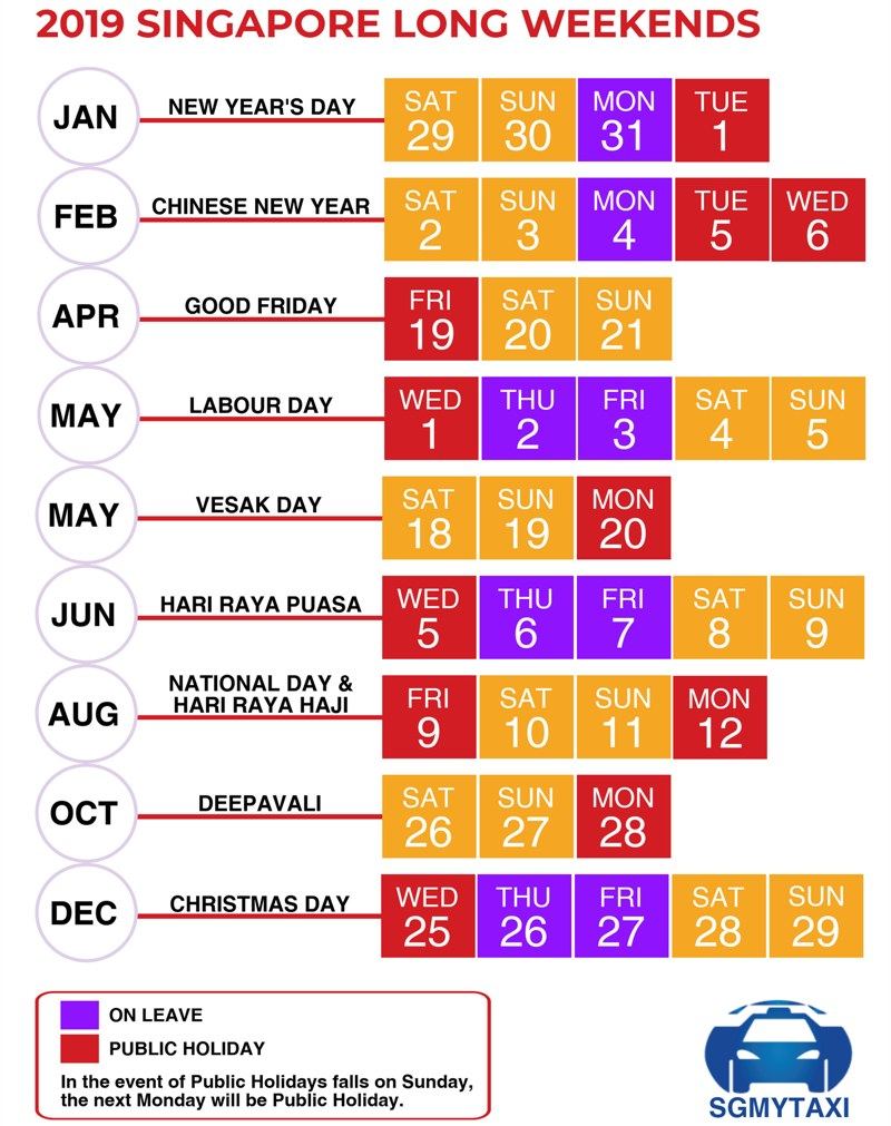 Year 2019 Calendar Singapore With Public School Holidays 2018 18 Long Weekends