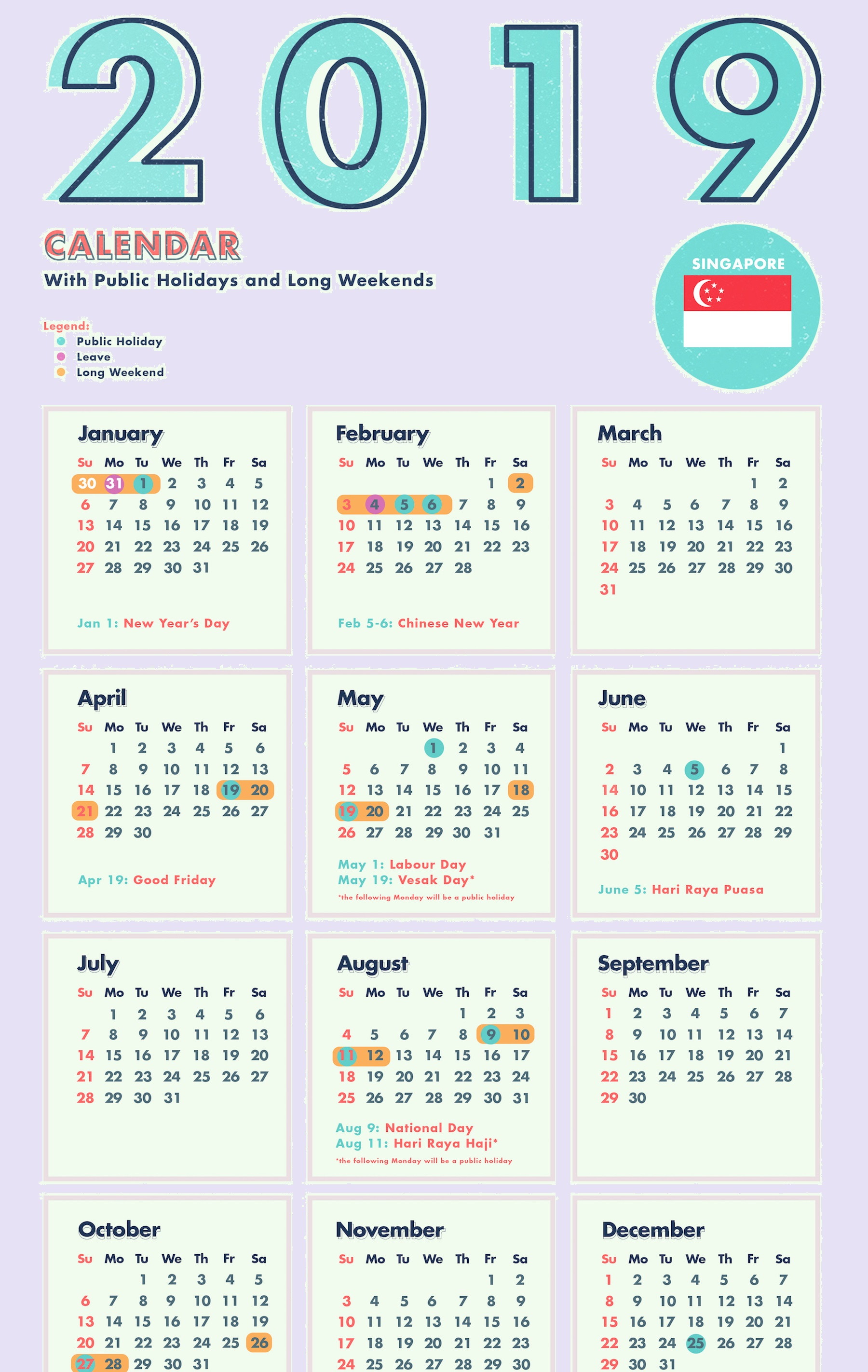 Year 2019 Calendar Singapore With Template PDF Excel Word Public Holidays